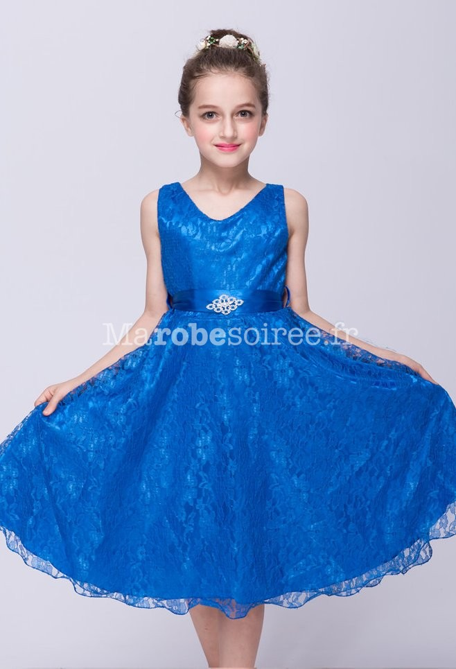 Robe ceremonie fille bleu roi