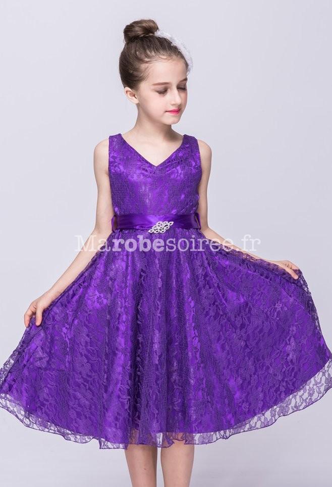 Robe de c r monie pour fille dentelle for Robe violette pour mariage