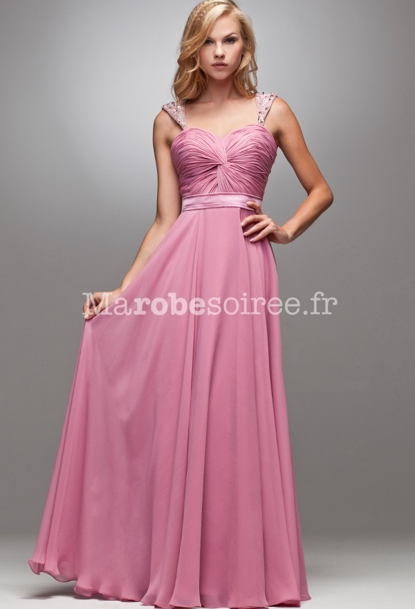 jacqueline ,robe de soirée rose longue bustier effet cache coeur 4028