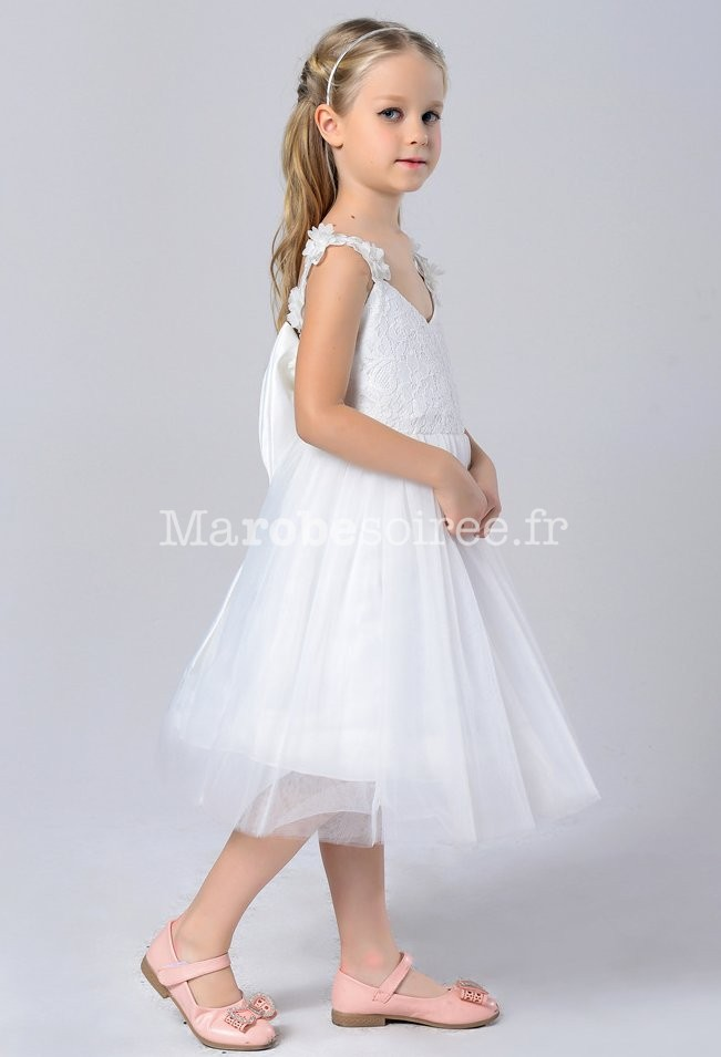 a0e2516c4b0cc ... Robe de cortège enfant blanc en dentelle  Robe de cortège enfant dos nu  ...