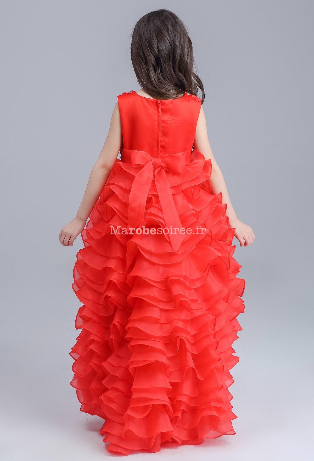 02666f09b0263 ... couleur rouge  Robe asymétrique pour jeune fille - dos ...