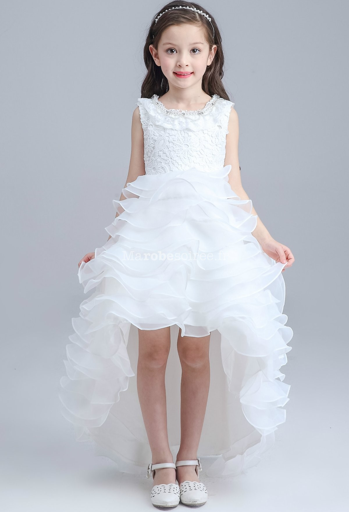 Robe blanche dentelle petite fille