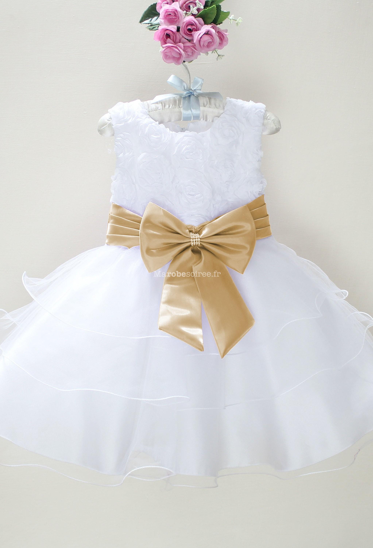 9ca6ee00e11 Déstockage - Robe petite fille blanche avec des rubans réf  EF6079 en  Organza