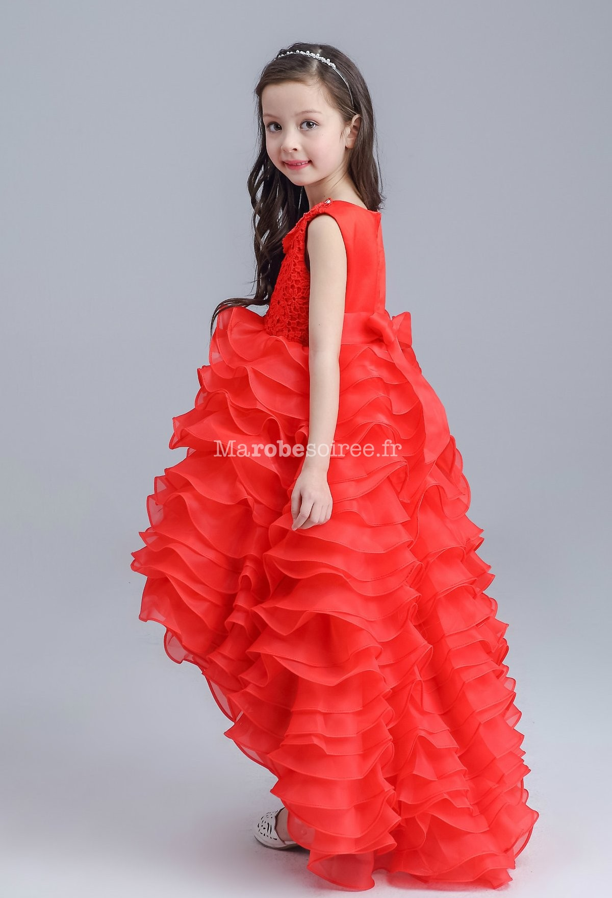 4c724d6695429 ... pour jeune fille longueur asymétrique  Rouge  Blanc  Jolie robe fille  asymétrique en couleur rouge ...