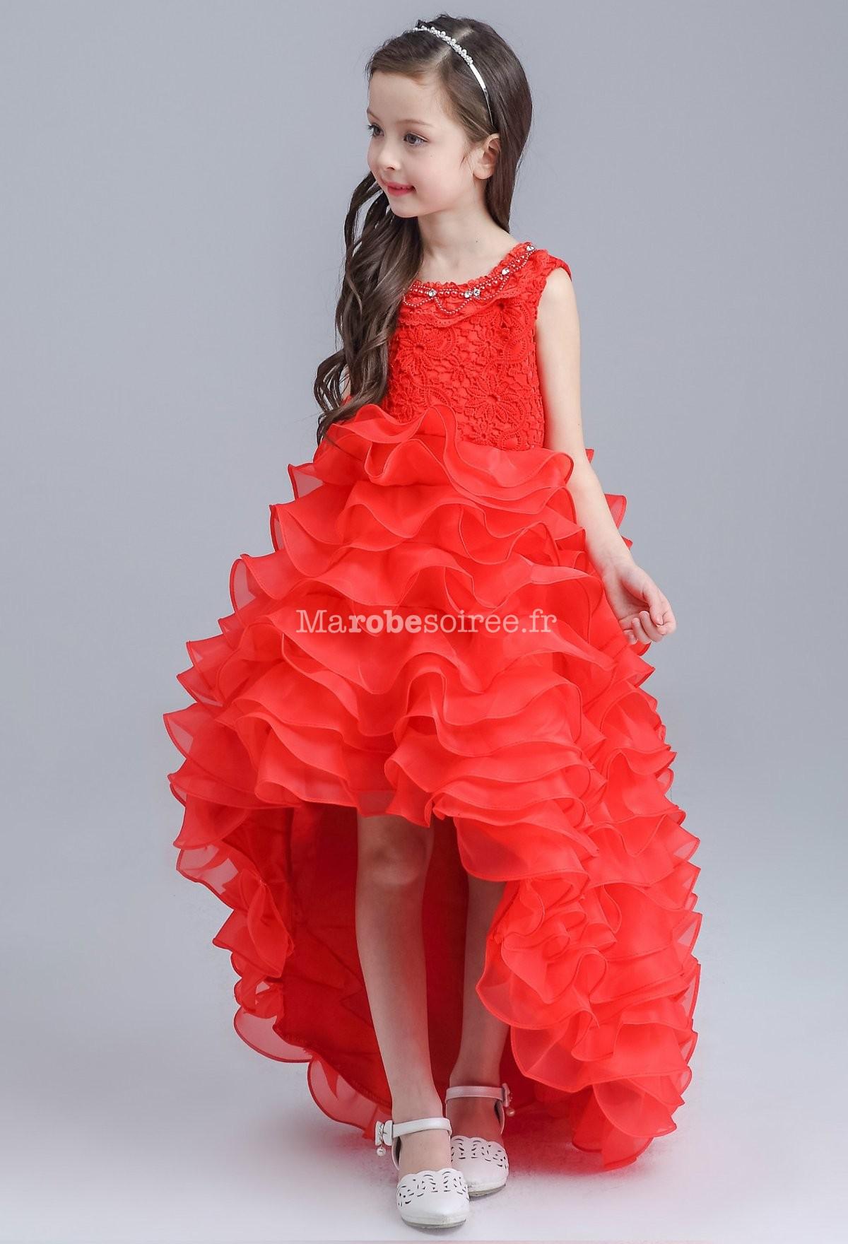 1199f253e98d4 ... Magnifique robe blanche pour jeune fille longueur asymétrique  Rouge ...