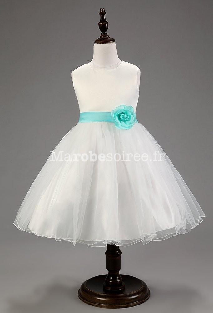 5c0b11bfba2 Lily - Robe de cortège enfant blanche en satin et tulle avec nœud rose –  réf. EFC124 en Satin duchesse