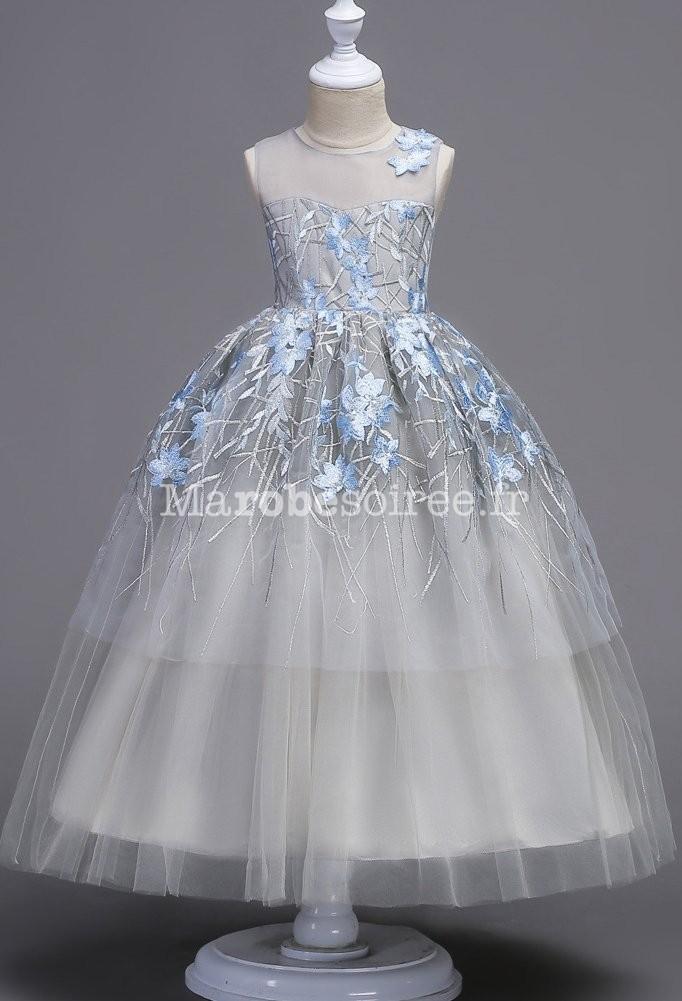 583e1ec049ab9 ... Robe de princesse fille gris bleu finement brodée ...
