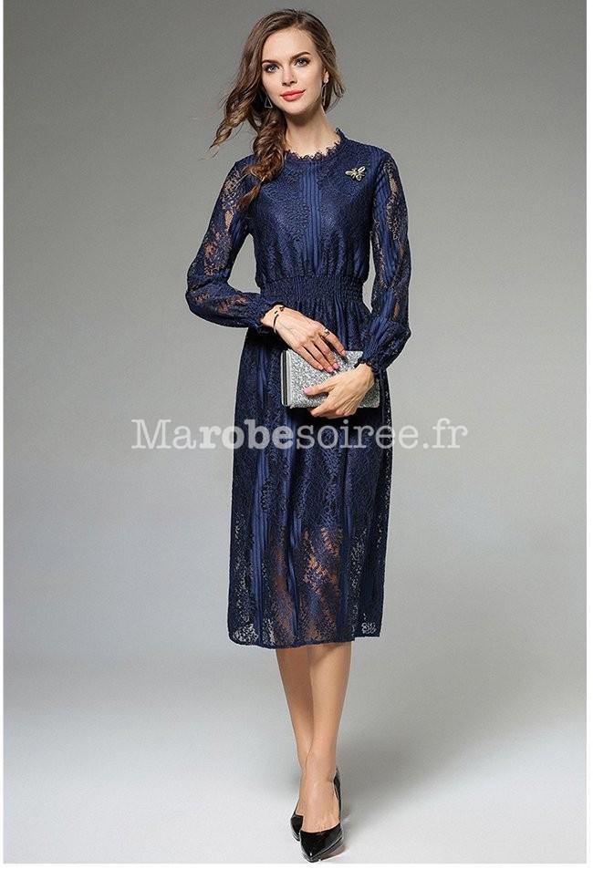 b5d0c68043a ... Robe dentelle manches longues bleu nuit ...