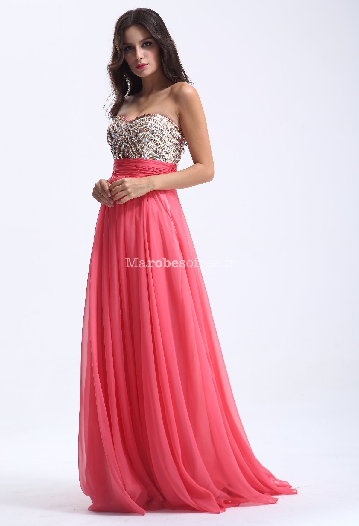 Robe longue de c r monie perles corail for Robe maxi corail pour mariage