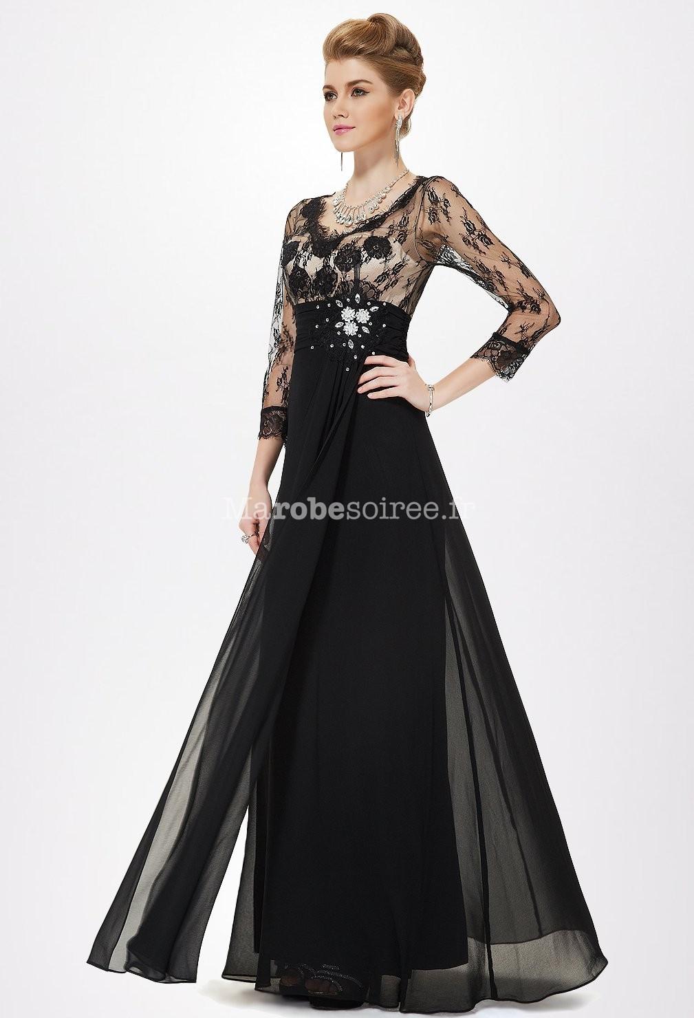 Violet; Noir; Robe longue de soirée avec buste en dentelle transparente avec  manche 3/4