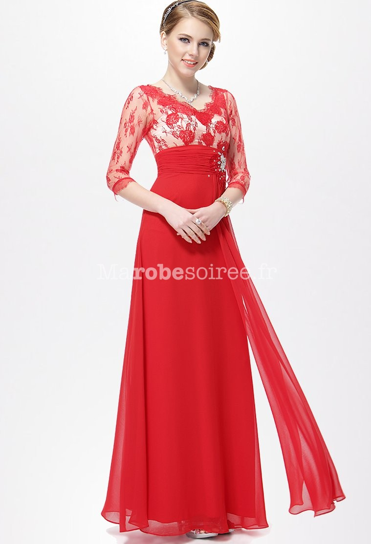 d675908d075 Robe de soiree manche longue rouge ...