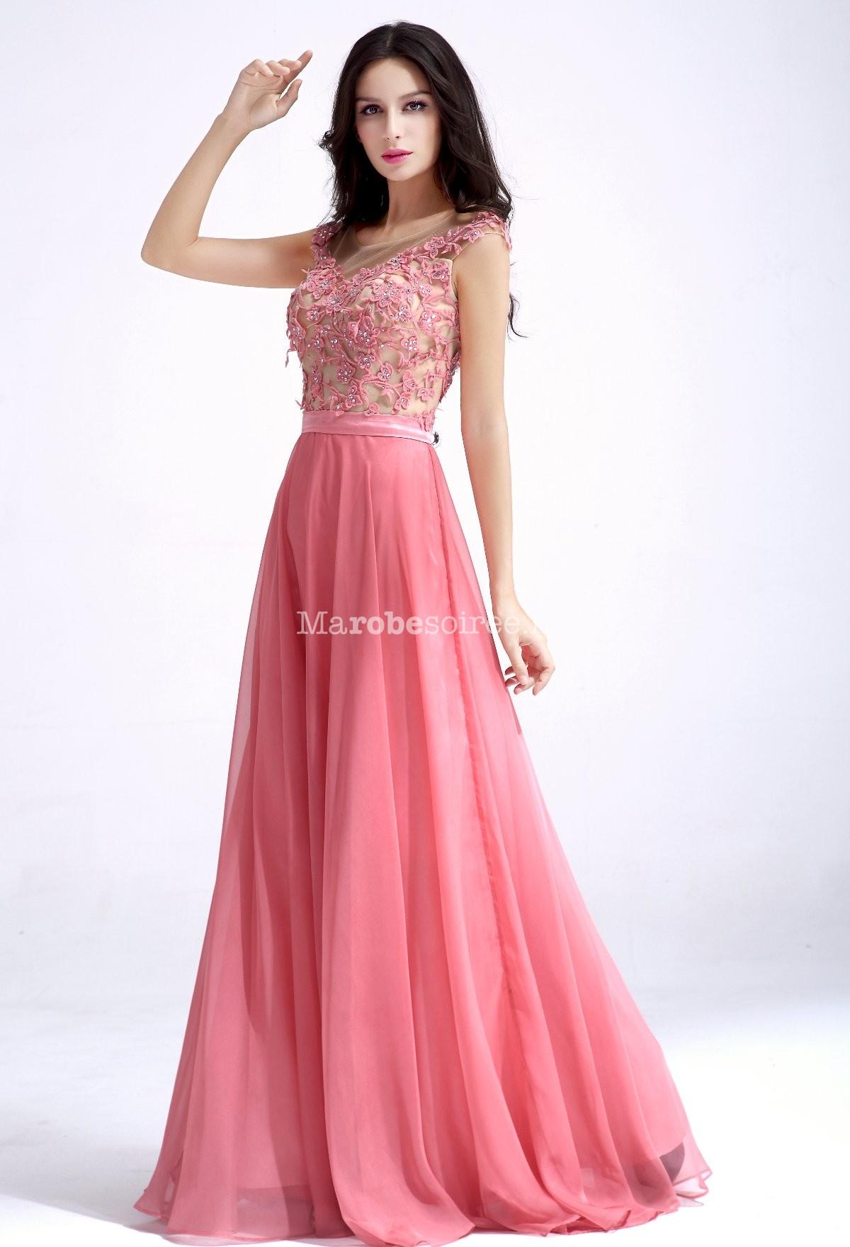 Robe longue de c r monie rose broderie for Sac de robe de mariage pour voyage