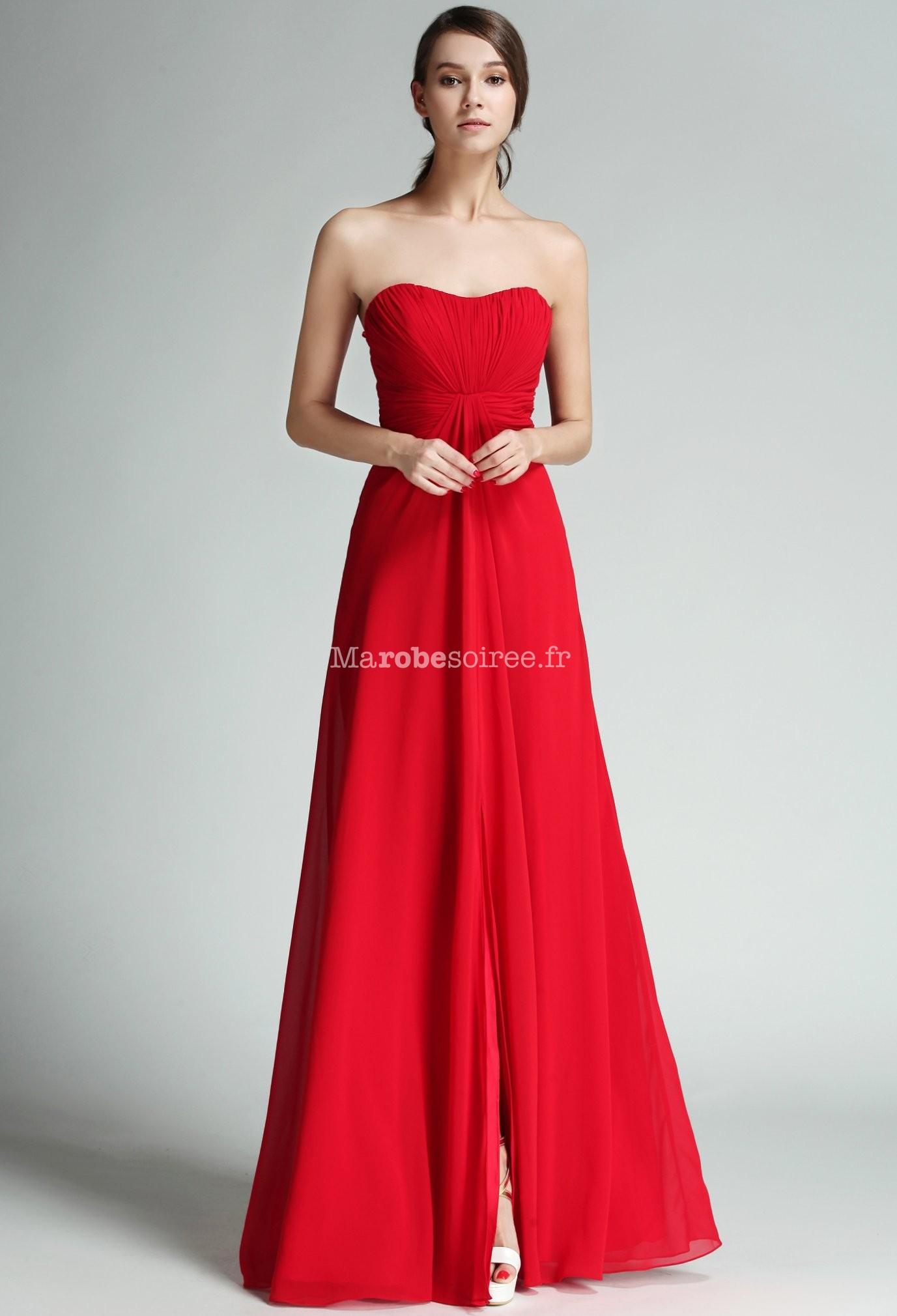 Robe longue de c r monie rouge mousseline for Robes de mariage abordables
