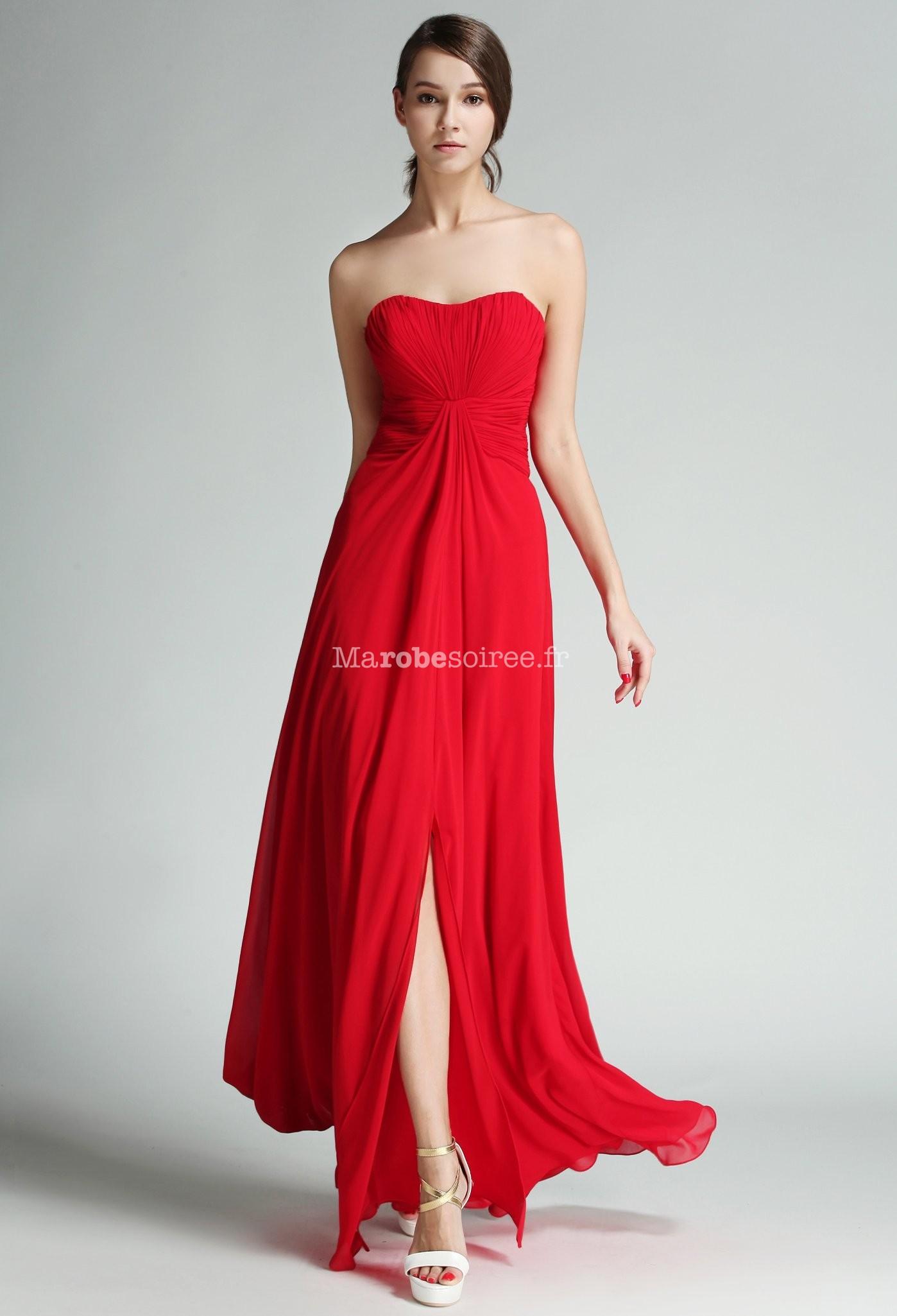 Robe longue de mariage mousseline rouge for Hors des robes de mariage