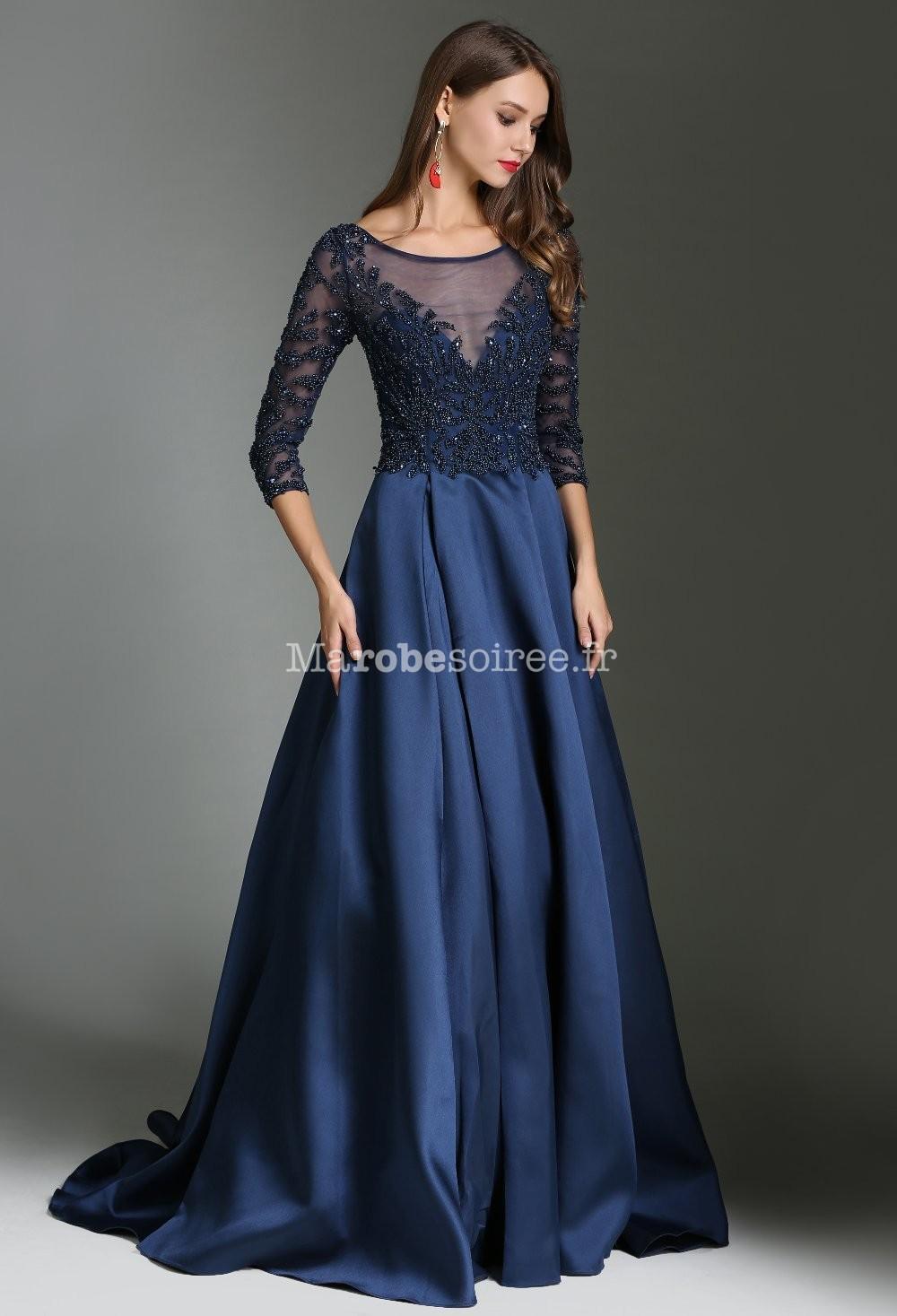 Robe De Soirée Bleu Nuit Luxe