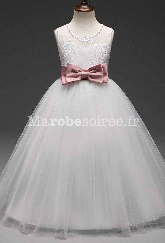 6162635c5ece7 Robe princesse enfant dentelle ceinture rose poudré ...