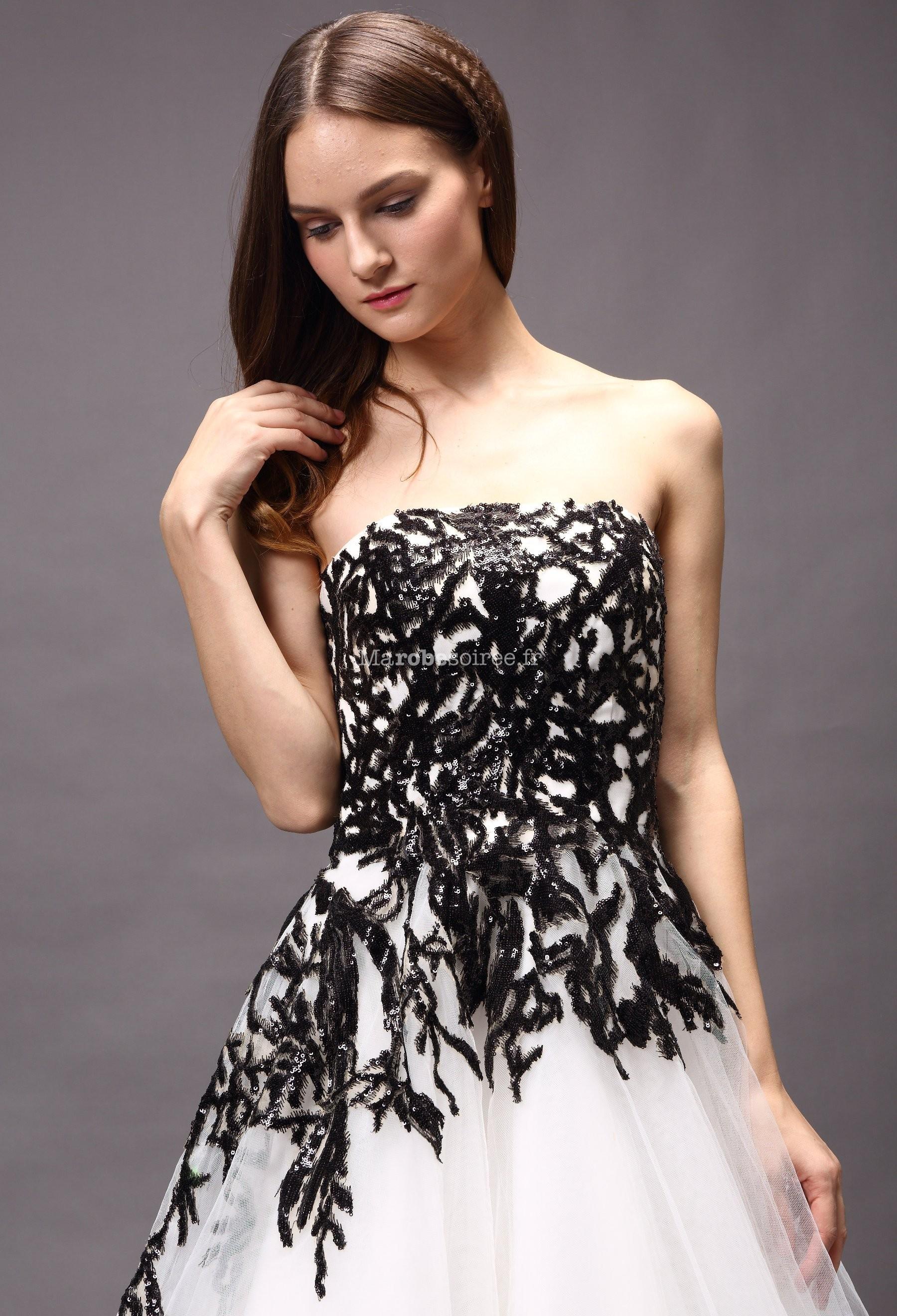 robe de mari e blanche et noir princesse