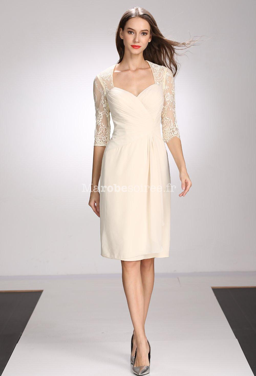 60bf2d05914 ... bustier coeur  robe de soirée champagne courte à manches ...