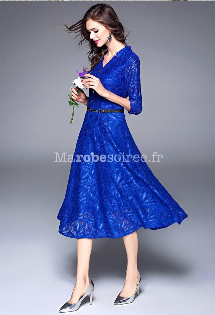 dfc7ef441f6 Robe habillée bleu roi dentelle