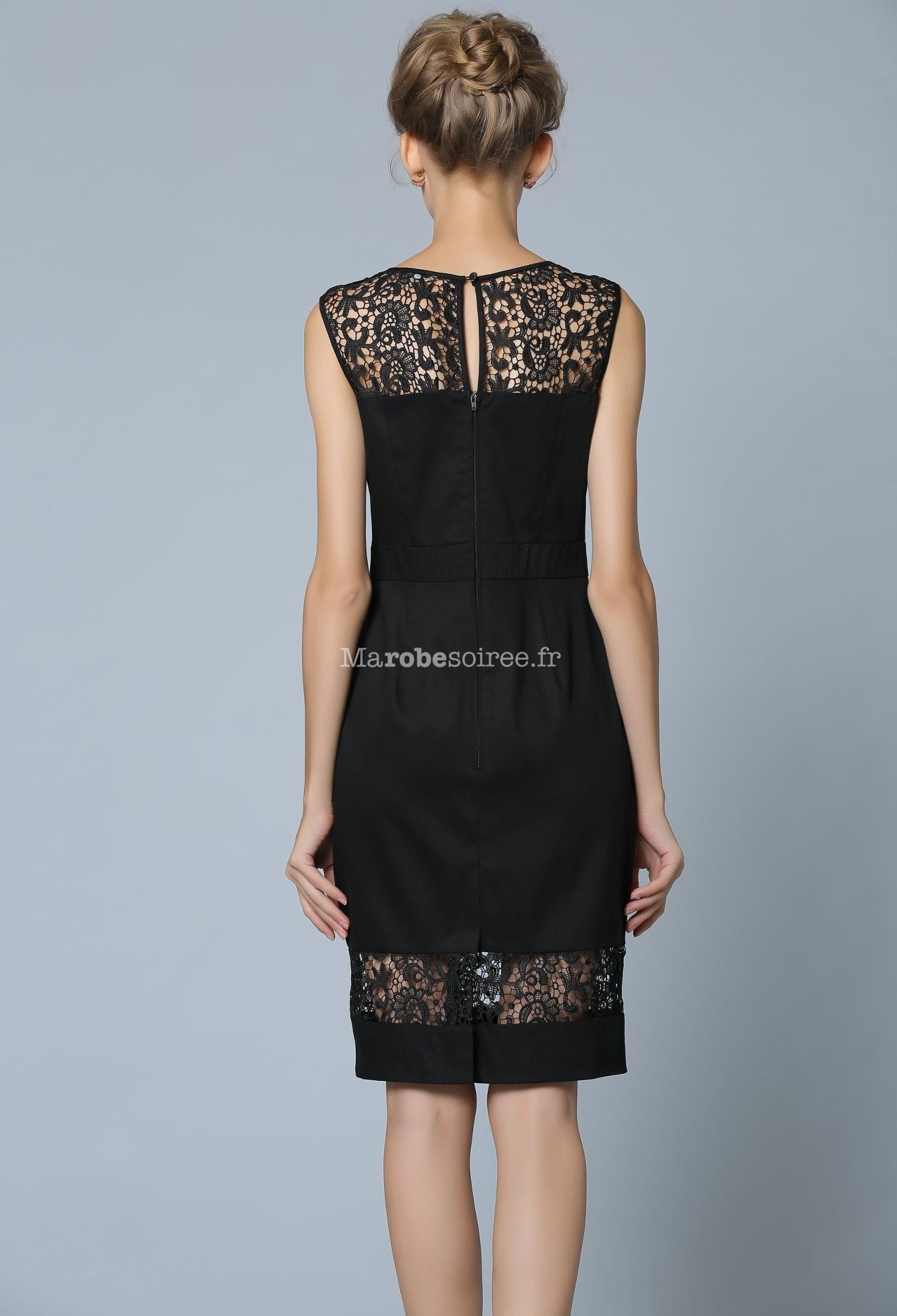 robe tailleur noire sans manche en dentelle. Black Bedroom Furniture Sets. Home Design Ideas