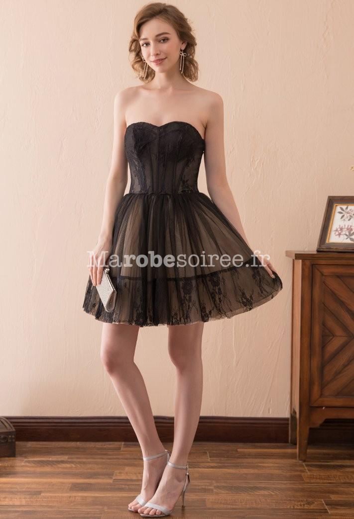 3121c0bf74c ... dentelle tulle bustier  Élégante robe noire bustier tulle souple ...