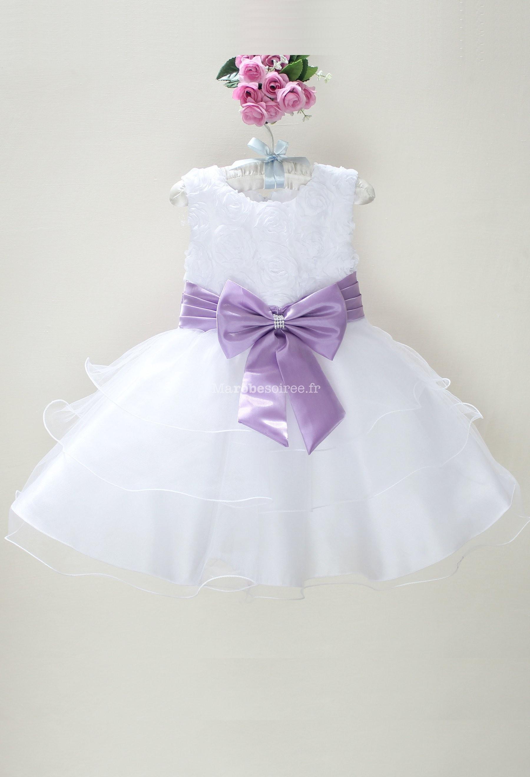 4a0f495faf1ff Déstockage - Robe petite fille blanche avec des rubans réf  EF6079