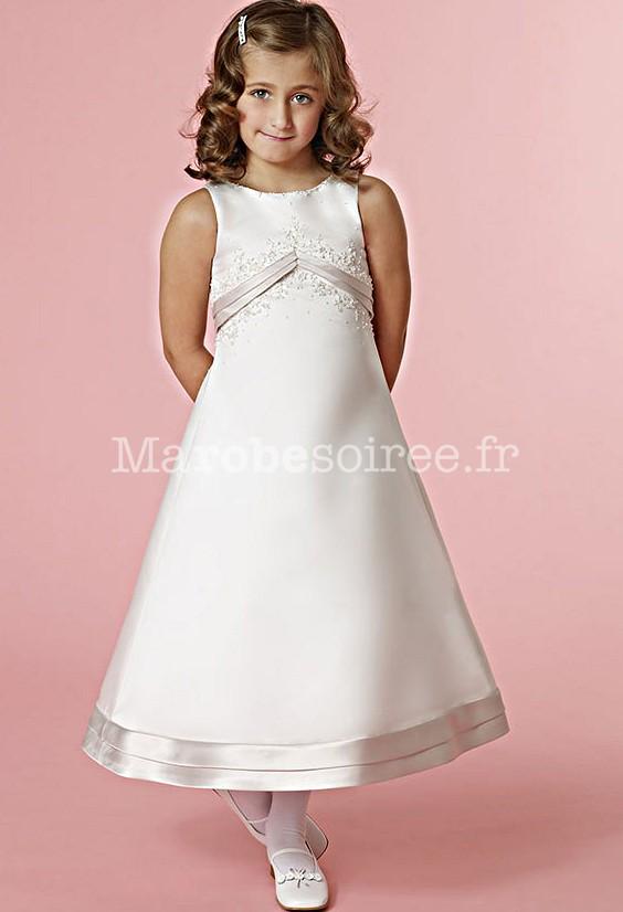 Robe de cort ge enfant a ligne en satin ivoire pour mariage for Robes pour mariage en ligne