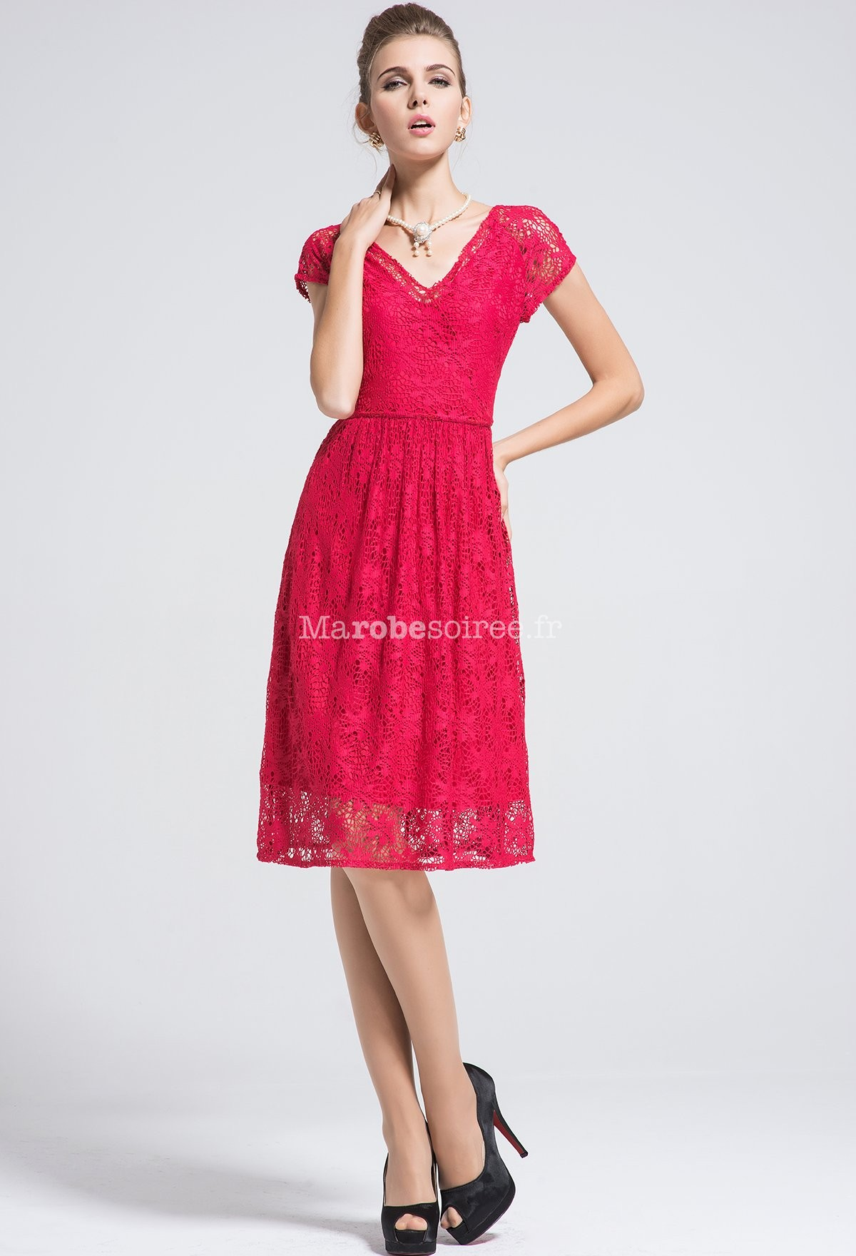 Robe de soiree rouge col v