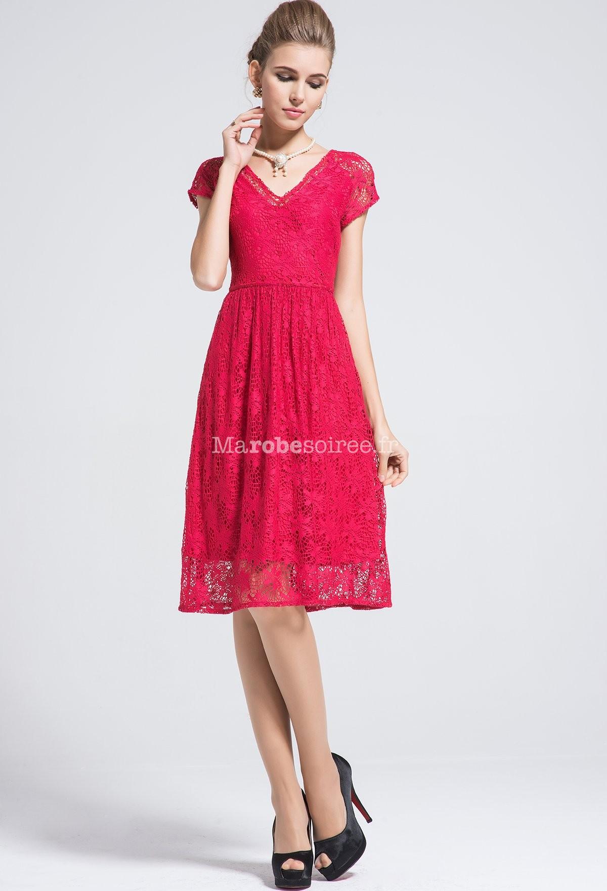Robe rouge manche courte