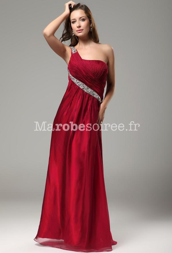 1d0585e3e04 robe de soirée longue rouge asymétrique framboise mariage mousseline