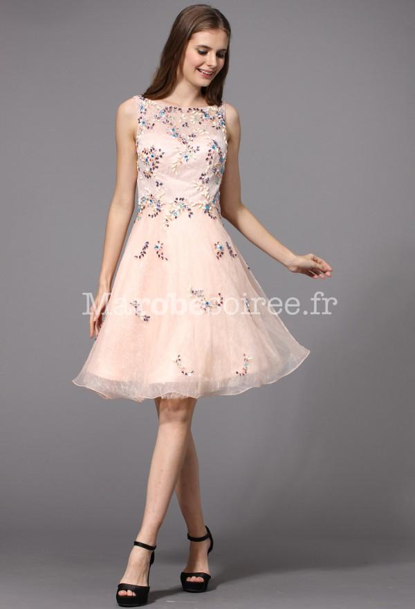 robe de soir e courte rose pastel avec strass. Black Bedroom Furniture Sets. Home Design Ideas