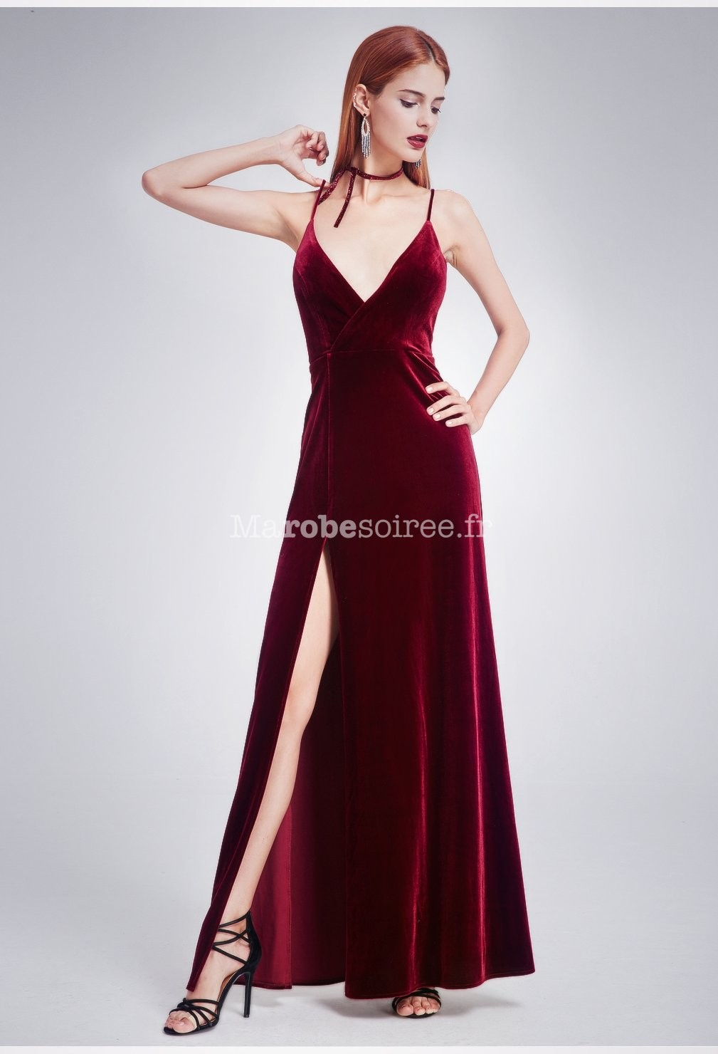 Robe soiree velours rouge