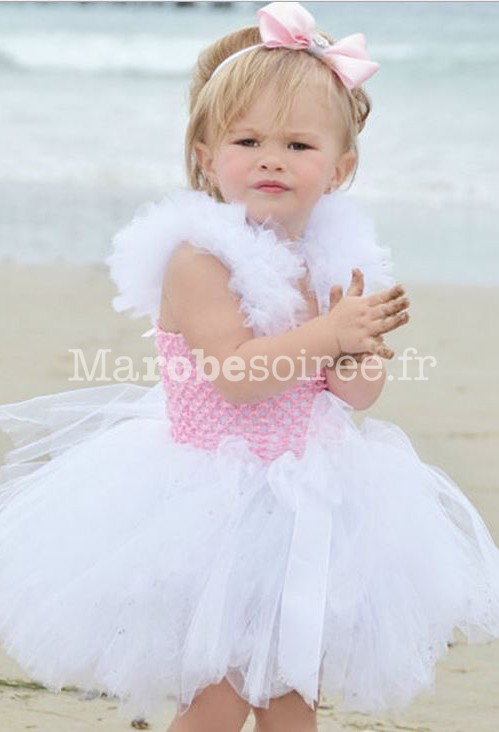 49a736c05b1 ... blanc  robe cortège rose à tulle et dentelle ...