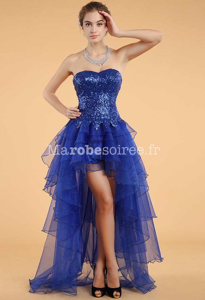 Robe de soiree asymetrique bleue