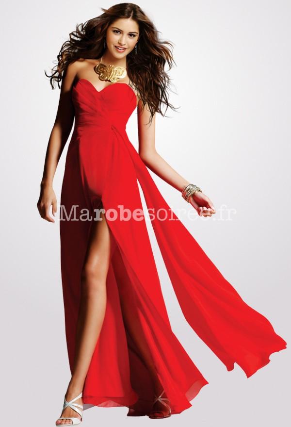 robe de gala longue rouge en mousseline volant. Black Bedroom Furniture Sets. Home Design Ideas