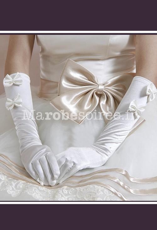 gants de mari e s29 en satin longs d cor es des noeuds papillon. Black Bedroom Furniture Sets. Home Design Ideas