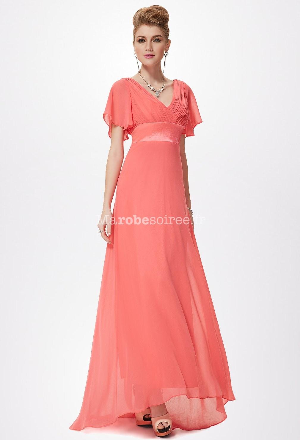 Robe de soir e glamour manches courtes d collet en v for Robe maxi corail pour mariage