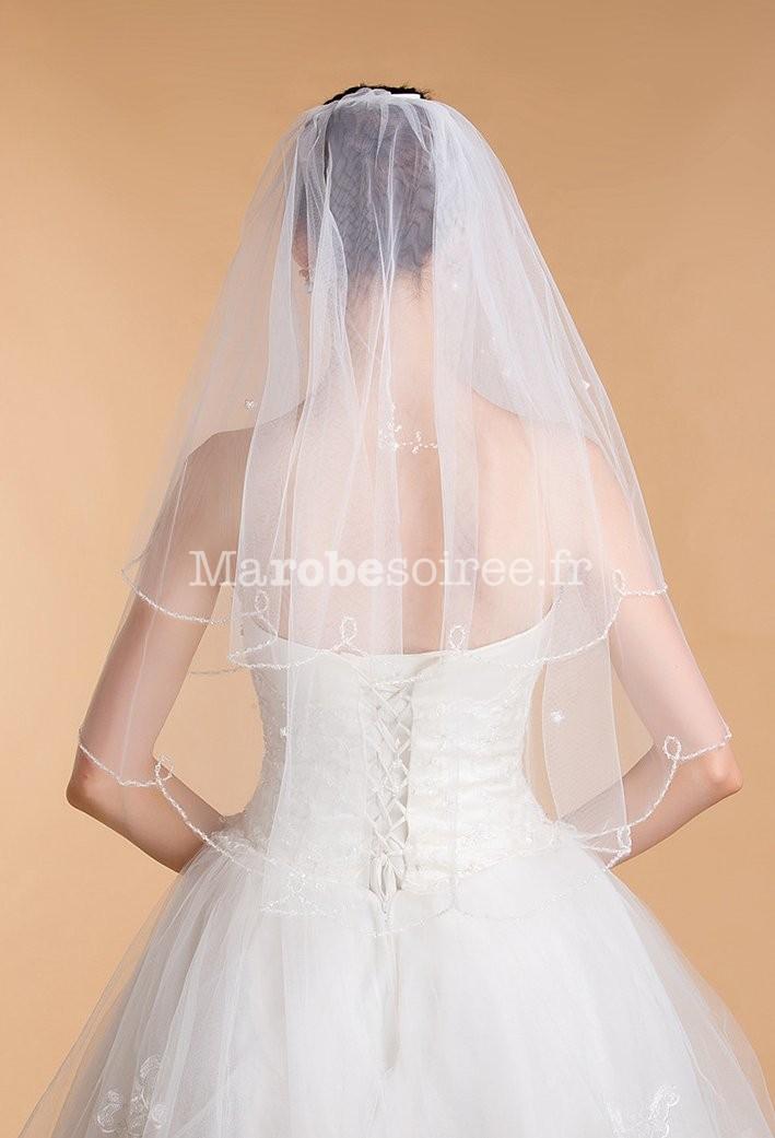 Voile court pour mari e mariage perles for Robes de mariage double baie