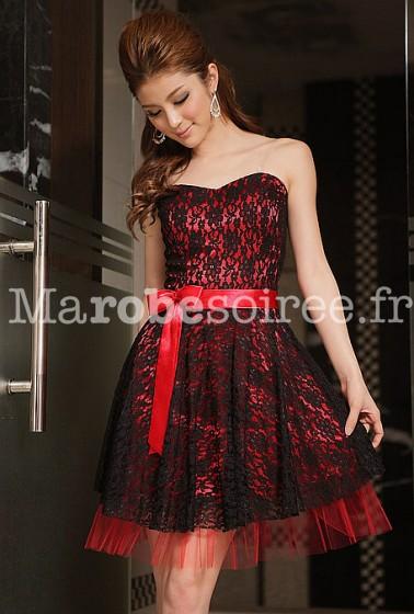 Déstockage - armandina - baby doll robe de soirée en dentelle à fleur bustier et noeud 8224