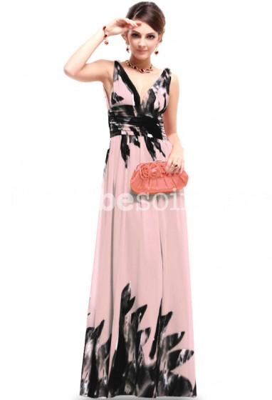 4d24c234b78 Robe de soirée longue Zoey motif rose et noir dégradé en mousseline