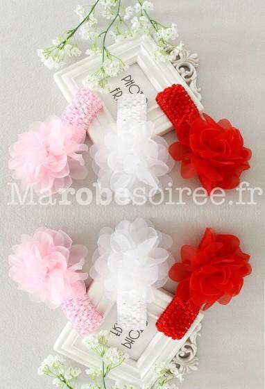 Bandeau pour fillette et bébé avec grosse fleur - réf B3523