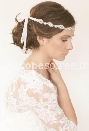 Bandeau cheveux en strass et perles blanches - réf xh91