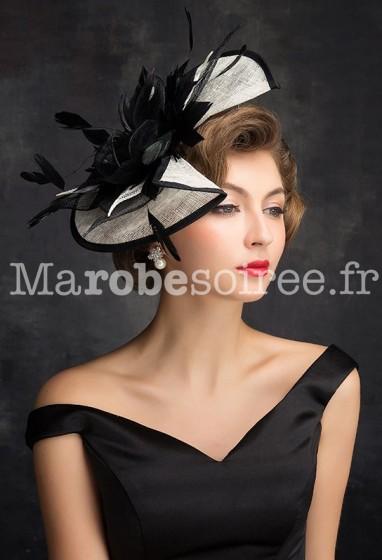 Chapeau femme de mariage noir et blanc - réf WH1657