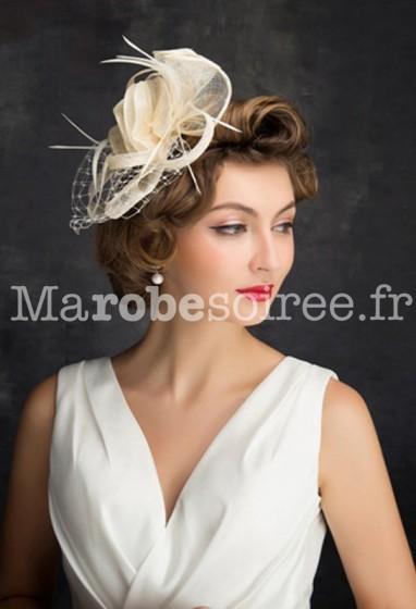Bibi voilette mariée ivoire - réf WH1683