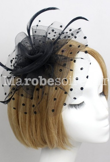 Bibi de couleur noir à pois avec perles et plumes réf. HA5099