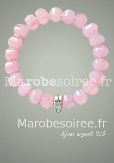 bracelet plaqué argent cristal rose