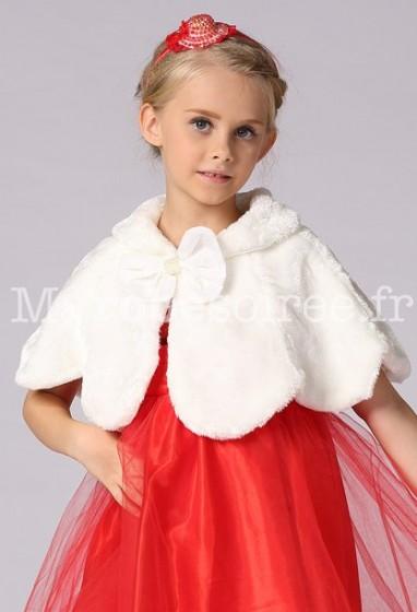 Cape pour petite fille en blanc et rose réf 3020