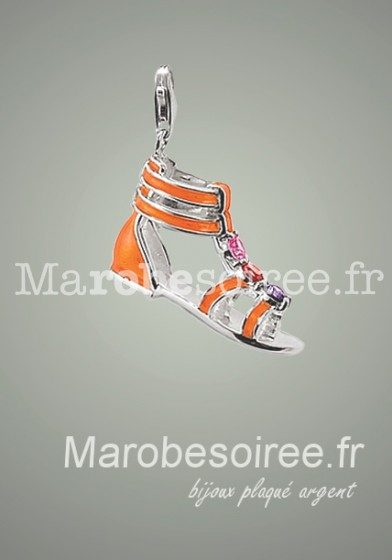 Sandale orange charms pendentif réf 25
