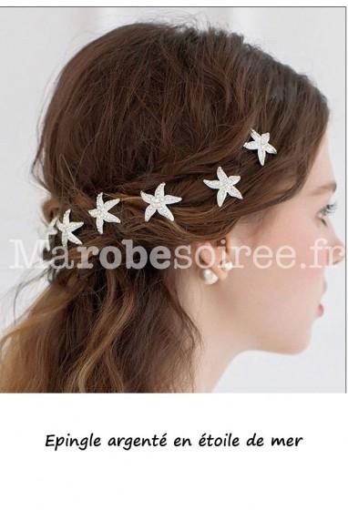 Epingle à chignon argenté en étoile de mer orné de strass