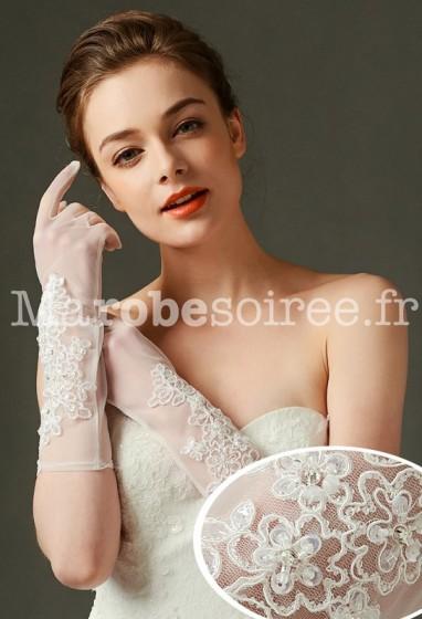 gants de mariage transparent avec broderie - réf. S70